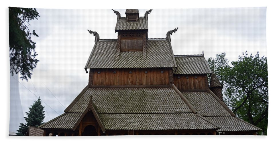 Moorhead Stave Church Hand Towel featuring the photograph Moorhead Stave Church 5 by Cassie Marie Photography