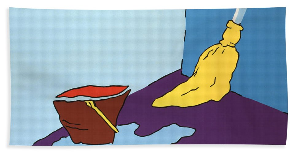 Bucket Bath Towel featuring the painting Mop And Bucket by John Bowers