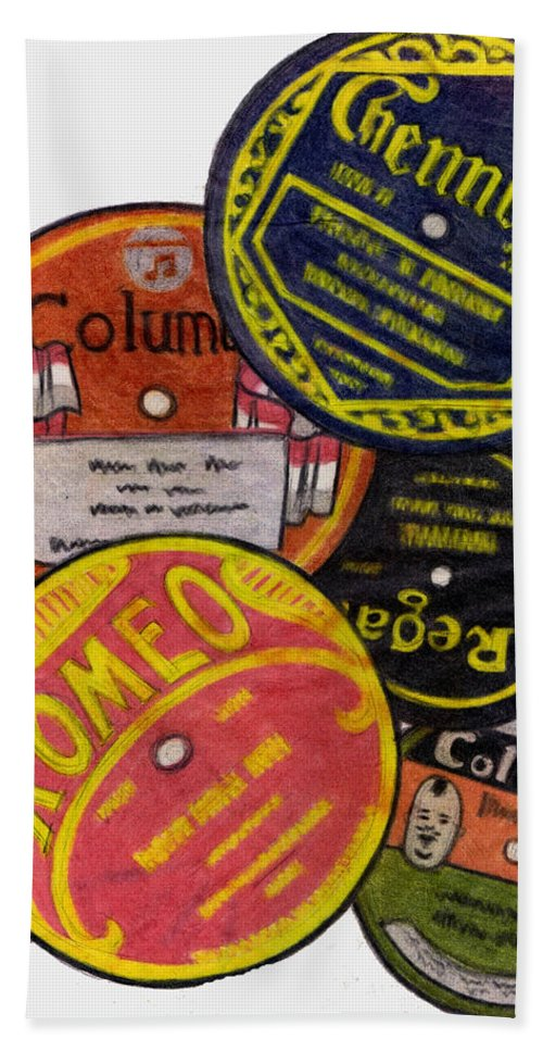 Ostalgia Bath Sheet featuring the drawing More Old Record Labels by Mel Thompson