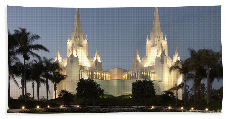 Mormon Bath Sheet featuring the photograph Mormon Cathederal San Diego 2 by Bob Christopher