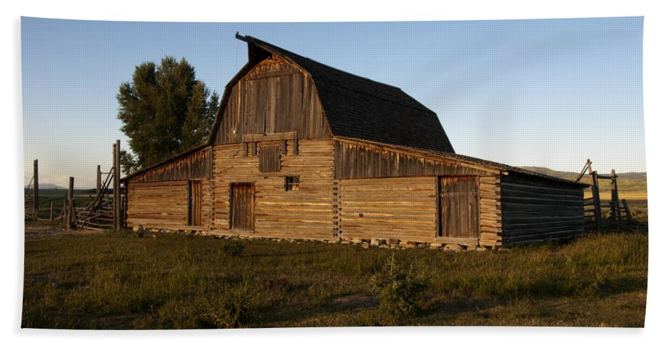 Mormon Row Barn Sunset Grand Teton National Park Wyoming Usa Hand Towel featuring the photograph Mormon Row Barn Sunset by Paul Cannon