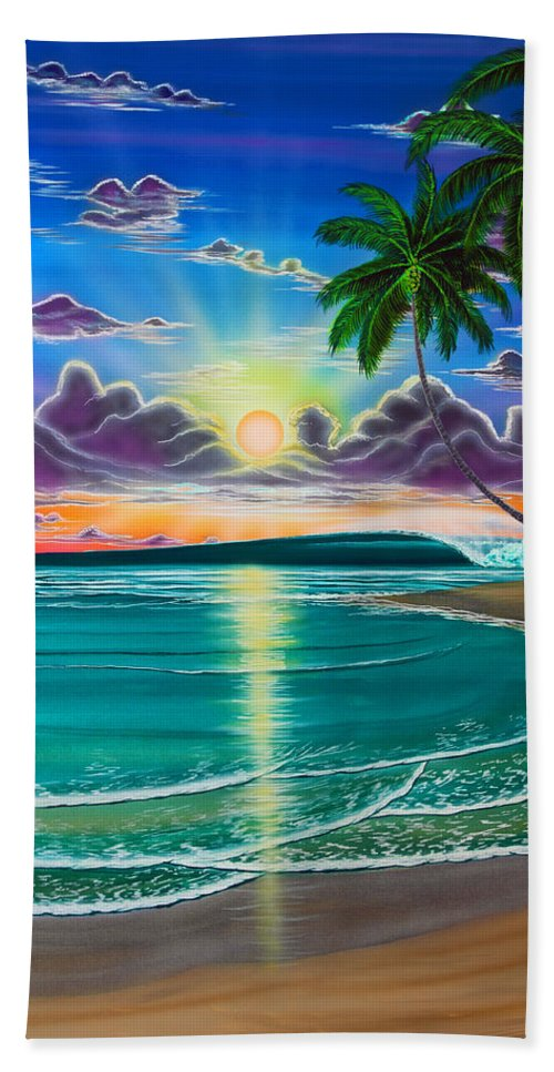 Surf Hand Towel featuring the painting Morning Bliss by Marty Calabrese