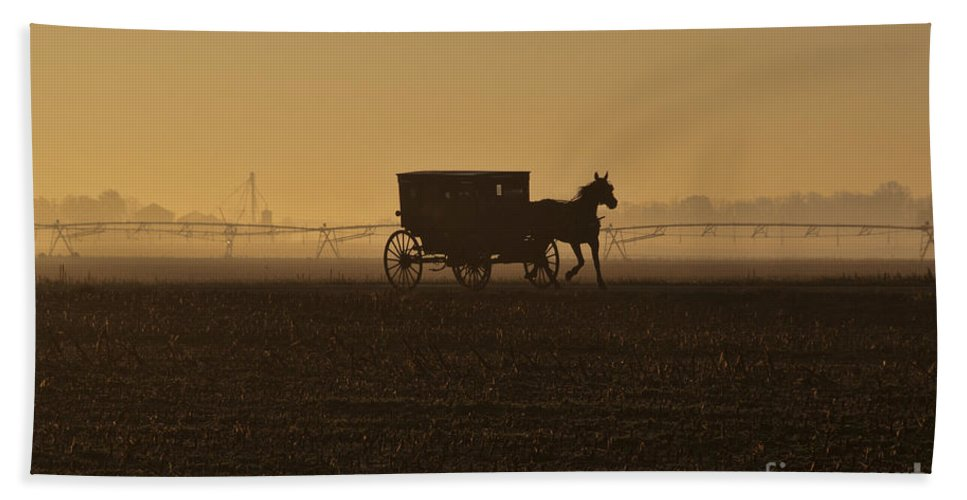 Amish Hand Towel featuring the photograph Morning Fog by David Arment