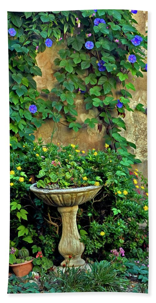Morning Glory Bath Sheet featuring the photograph Morning Glory Garden In Provence by Dave Mills