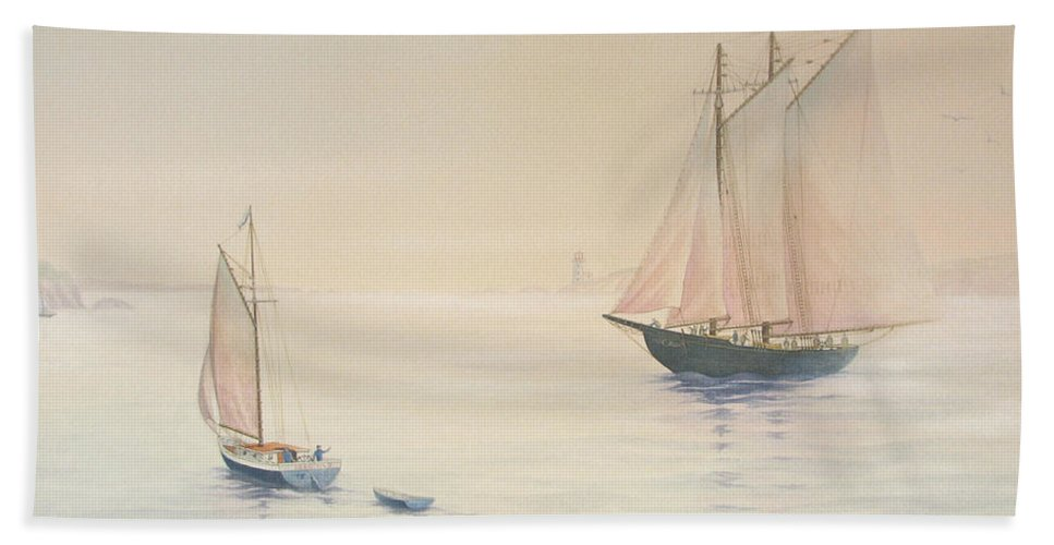 Harbour Bath Sheet featuring the painting Morning Glow by Robert Boast Cornish