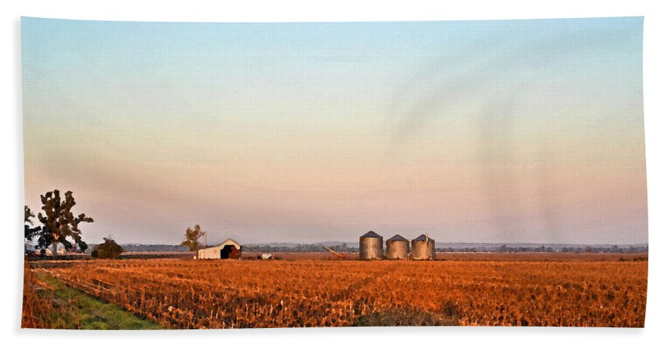 Scenery Bath Sheet featuring the photograph Morning In The Heartland Watercolor Photoart II by Debbie Portwood
