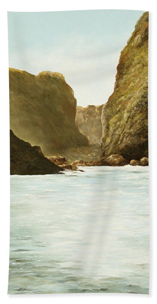 Oregon Water Scene Bath Sheet featuring the painting Morning Light On The Pacific by Mary Ann King