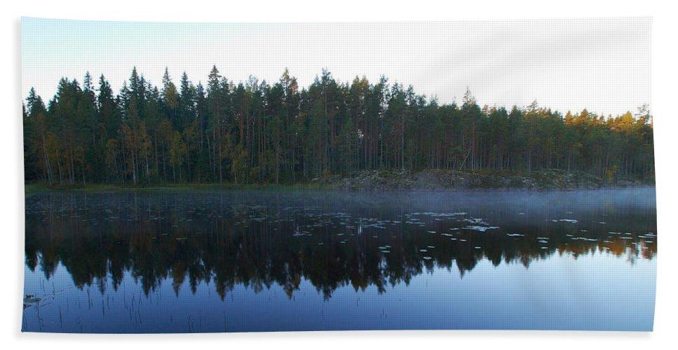 Haukkajarvi Bath Sheet featuring the photograph Morning Mist At Haukkajarv by Jouko Lehto