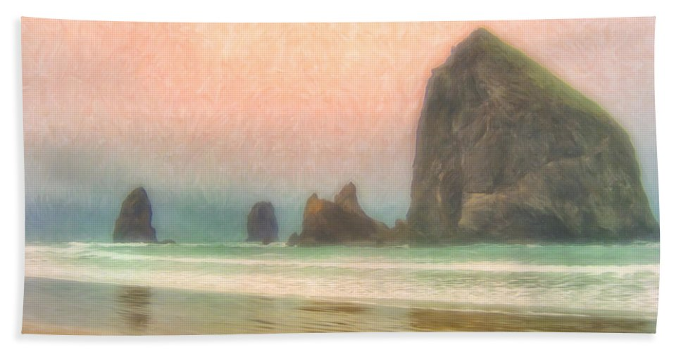 Morning Bath Sheet featuring the painting Morning Mist At Haystack Rock by Dominic Piperata