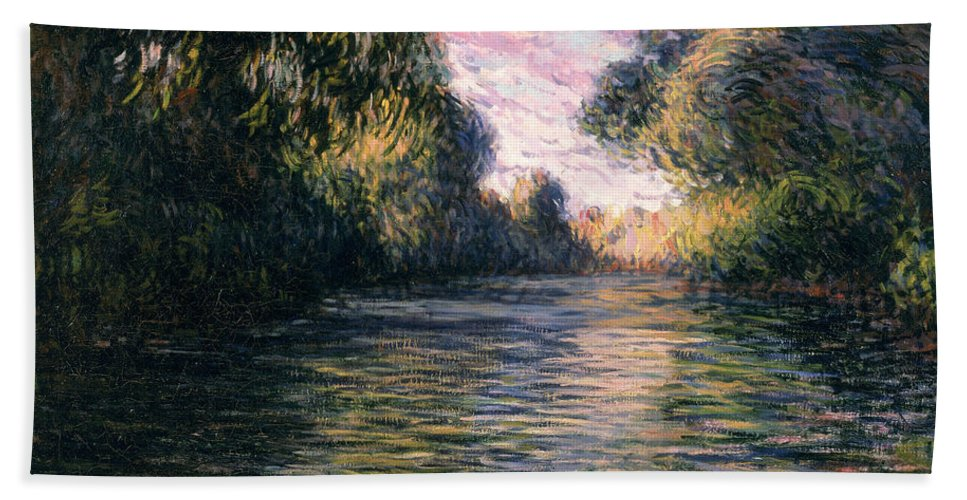 Impressionist;river;landscape;matin Bath Sheet featuring the painting Morning On The Seine by Claude Monet