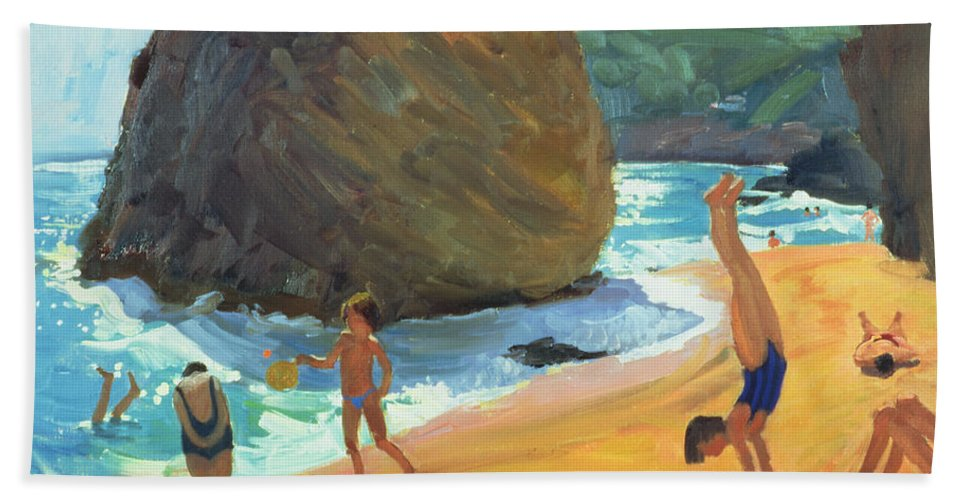 Beach Bath Sheet featuring the painting Morning Platja Dos Rosais Costa Brava by Andrew Macara