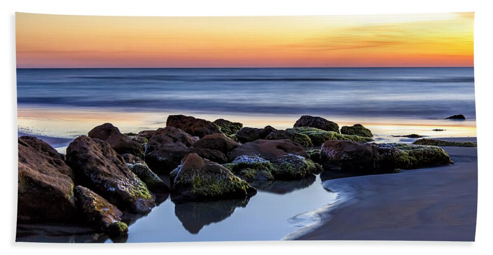 Sunrise Hand Towel featuring the photograph Morning Reflection by Janet Fikar
