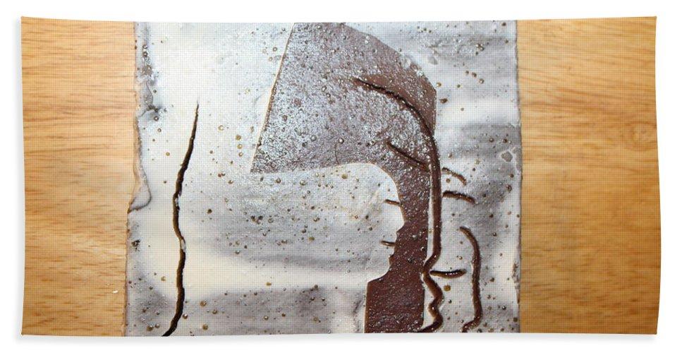 Jesus Bath Sheet featuring the ceramic art Morning Rush 2 by Gloria Ssali