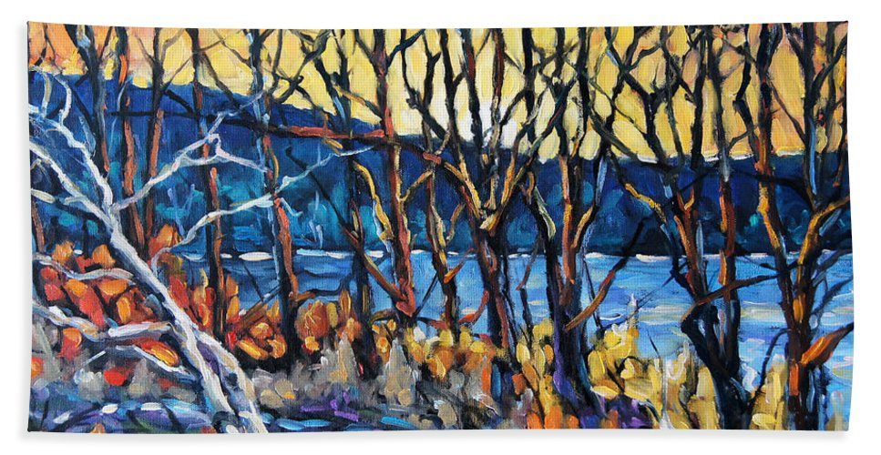 Art Hand Towel featuring the painting Morning Sunrise Over The Lake By Prankearts by Richard T Pranke