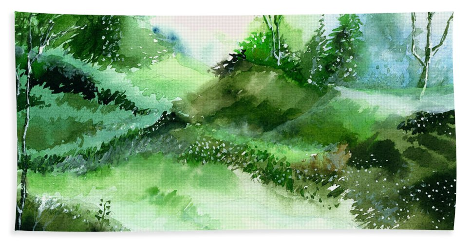 Nature Bath Sheet featuring the painting Morning Walk 1 by Anil Nene