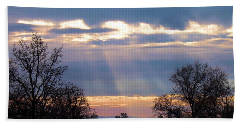 Morning Bath Sheet featuring the photograph Mornings Heavenly Light by Joyce Dickens