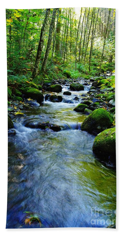 Water Bath Sheet featuring the photograph Mossy Rocks And Water  by Jeff Swan