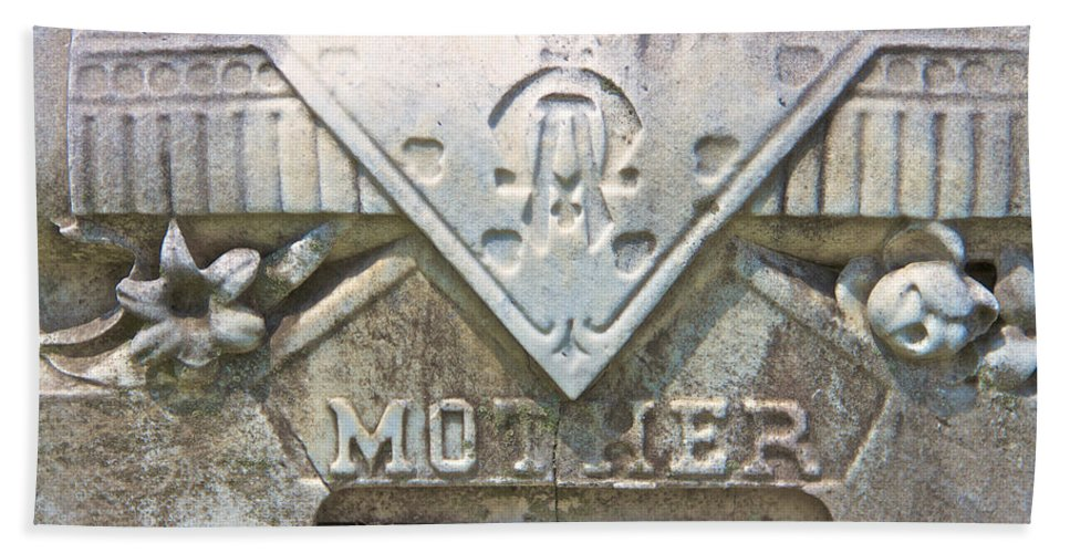 Mother Cemetery Marker Gravestone Laurel Hill Philadelphia Bath Sheet featuring the photograph Mother by Alice Gipson