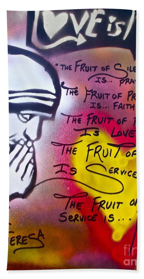 Graffiti Bath Sheet featuring the painting Mother Theresa Fruits by Tony B Conscious