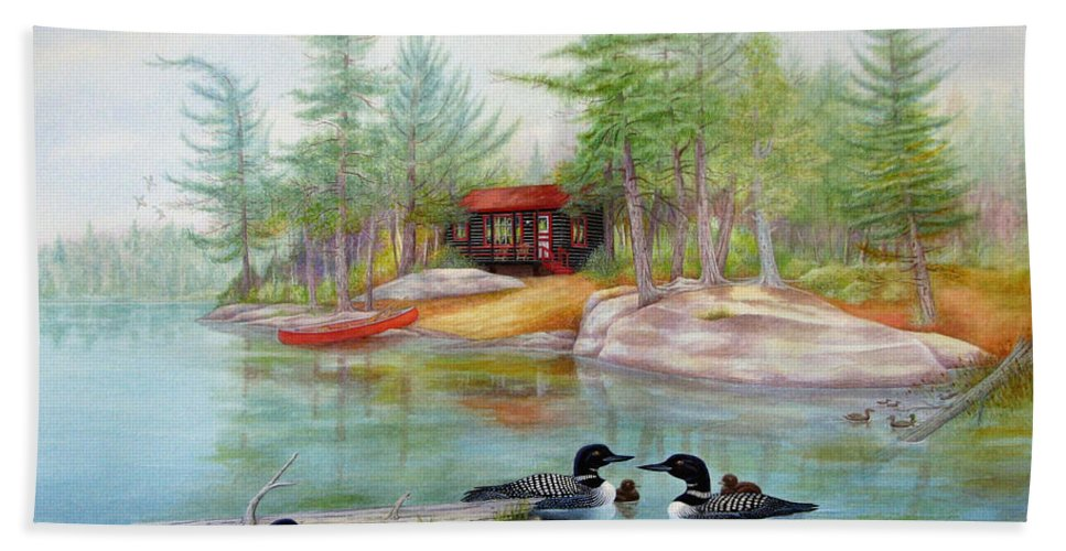 Camping Bath Sheet featuring the painting Mother's Meeting - Lake Of Two Rivers by Robert Boast Cornish