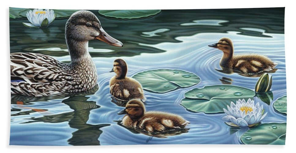 Mallard Ducks Bath Sheet featuring the painting Mother's Watchful Eye by Steven Tetlow