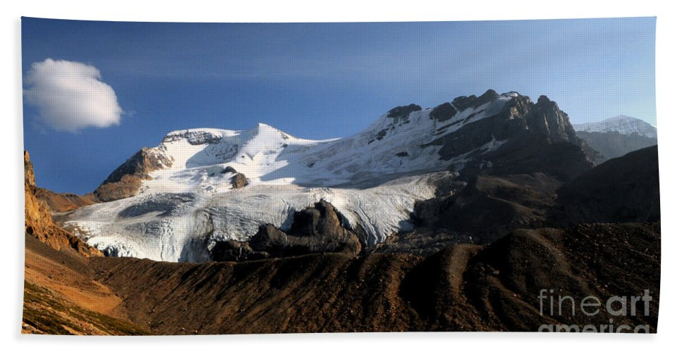 Mount Athabasca Bath Sheet featuring the photograph Mount Athabasca From The Columbia Icefields by Vivian Christopher