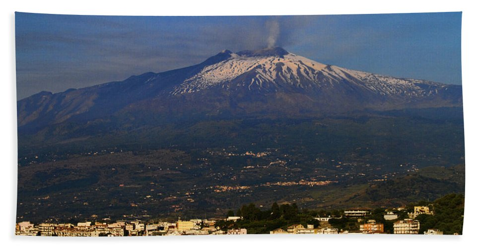 Mount Etna Bath Sheet featuring the photograph Mount Etna by David Smith
