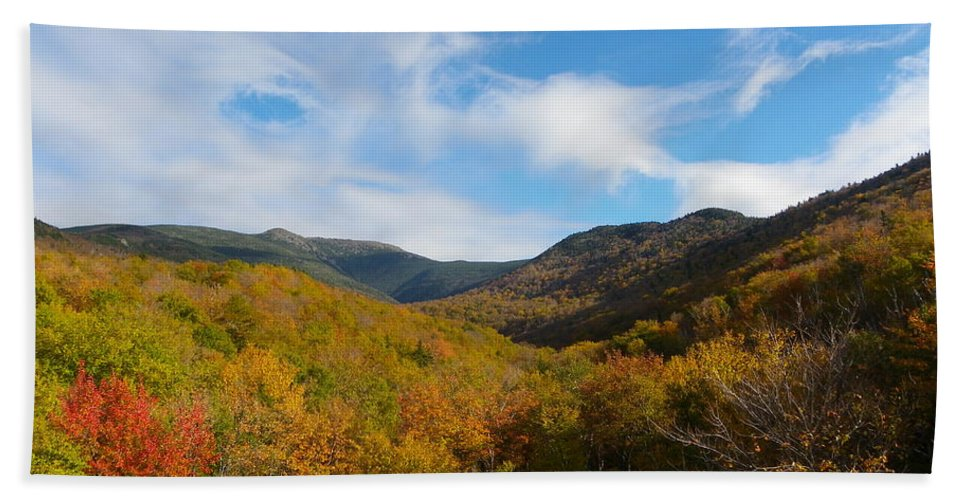 Mountains Bath Sheet featuring the photograph Mountain Foliage And Blue Skies by Sarah Lamoureux