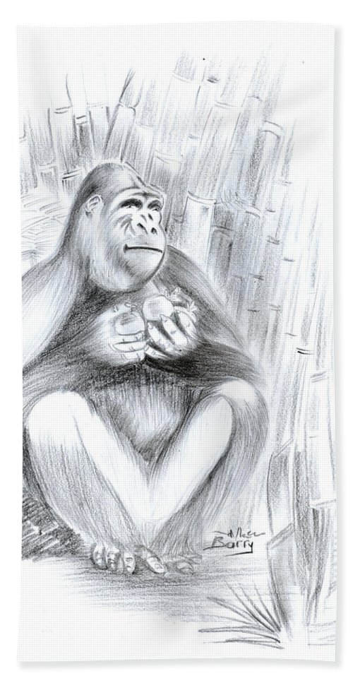 Animals Bath Sheet featuring the drawing Mountain Gorilla 02 by Emmanuel Baliyanga
