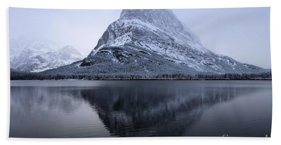 Grinnell Point Hand Towel featuring the photograph Mountain Mirror by Adam Jewell