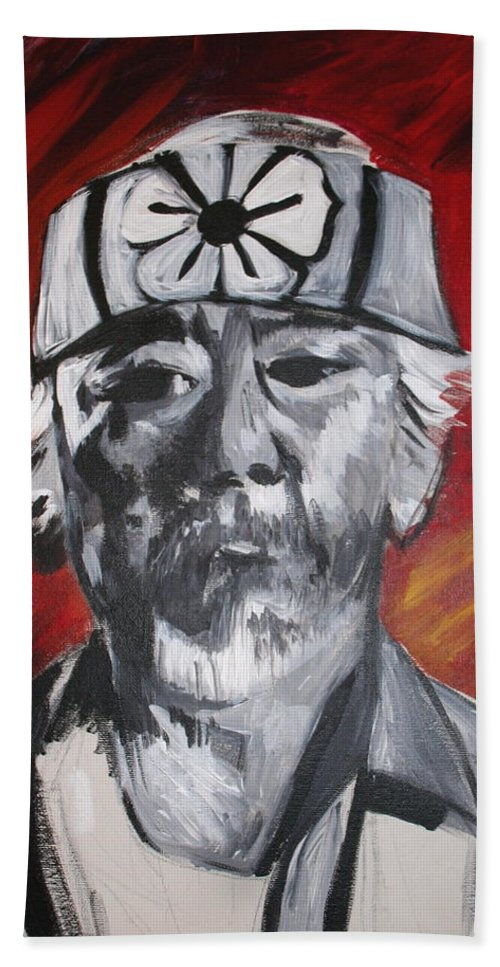 Portrait Hand Towel featuring the painting Mr. Miyagi by Kate Fortin