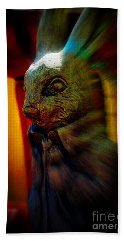 Mr.rabbit Bath Sheet featuring the photograph Mr. Rabbit by Susanne Van Hulst