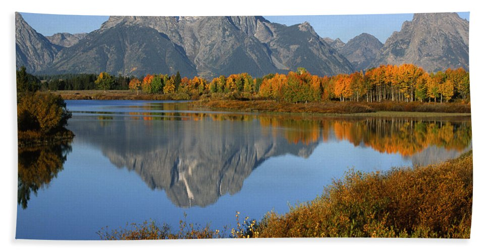 Grand Teton Hand Towel featuring the photograph Mt. Moran Reflection by Sandra Bronstein