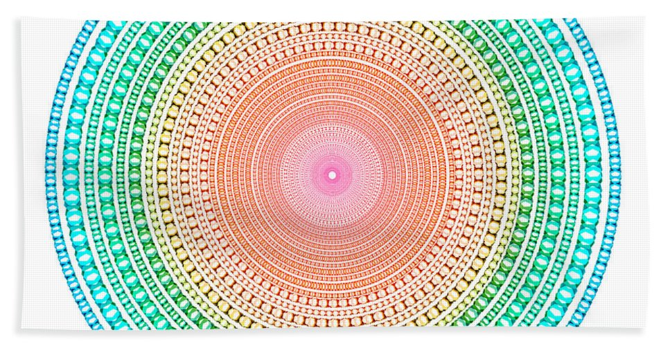 Abstract Hand Towel featuring the digital art Multicolor Circle by Atiketta Sangasaeng