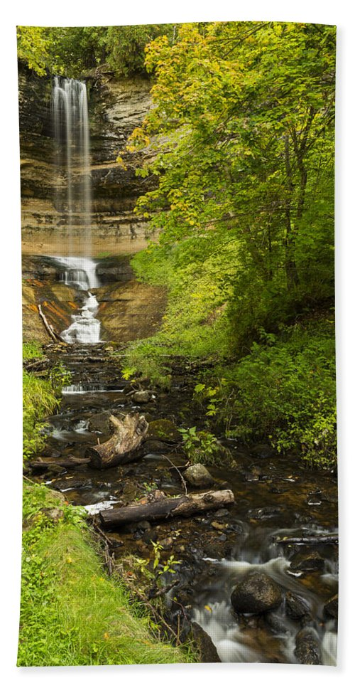 Fall Hand Towel featuring the photograph Munising Falls 1 by John Brueske