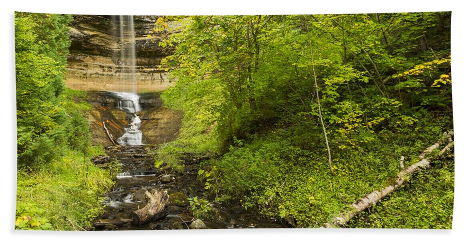 Fall Hand Towel featuring the photograph Munising Falls 3 by John Brueske