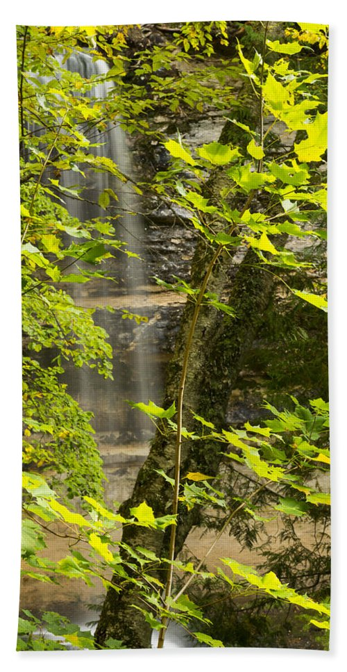 Fall Hand Towel featuring the photograph Munising Falls 4 by John Brueske