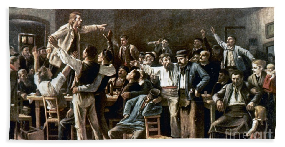19th Century Bath Sheet featuring the photograph Munkacsy: Strike, 1895 by Granger