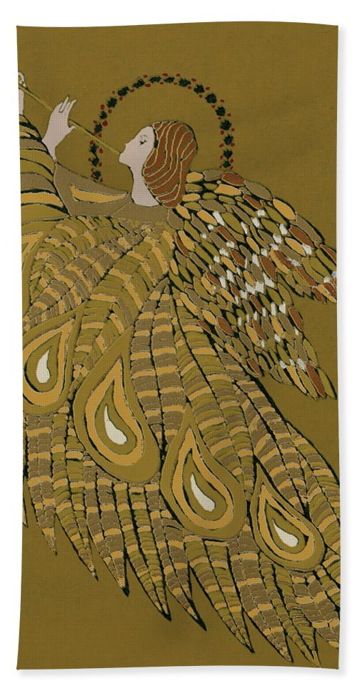 Trumpet Hand Towel featuring the painting Musical Angel by Gillian Lawson
