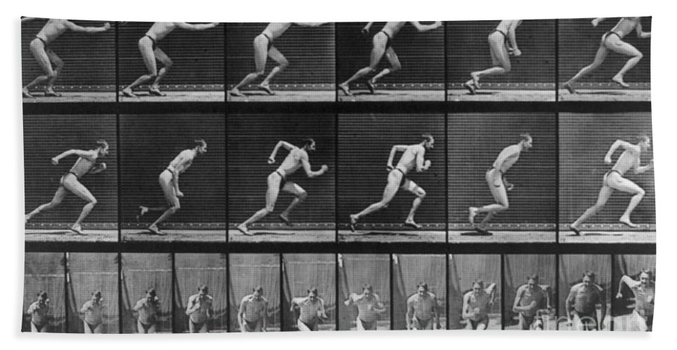 Technology Hand Towel featuring the photograph Muybridge Locomotion, Man Running, 1887 by Photo Researchers
