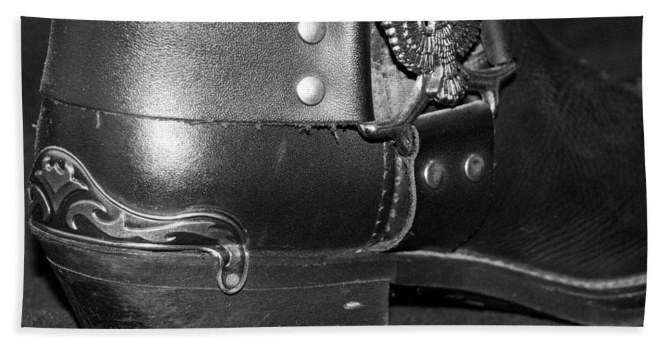 Boots Bath Sheet featuring the photograph My Biker Cowboy Boot In Black And White by Rob Hans
