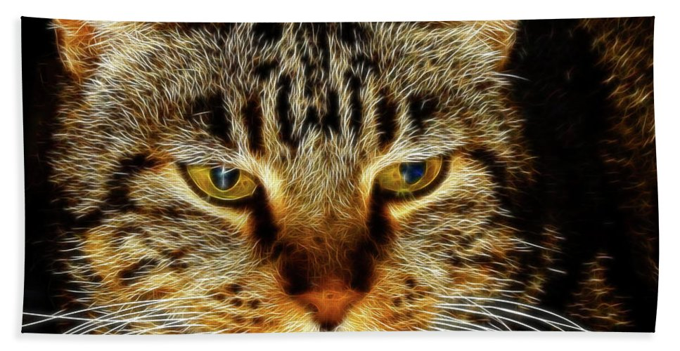 Meow Meow Bath Sheet featuring the digital art My Bored Cat by Mariola Bitner