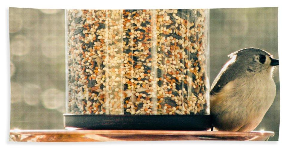 Bird Bath Sheet featuring the photograph My Lil Chickadee by Trish Tritz