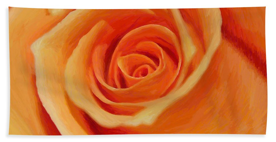 Rose Painting Flower Nature Orange Beauty Beautiful Fragile Expressionism Hand Towel featuring the painting My Wonderful Rose by Steve K