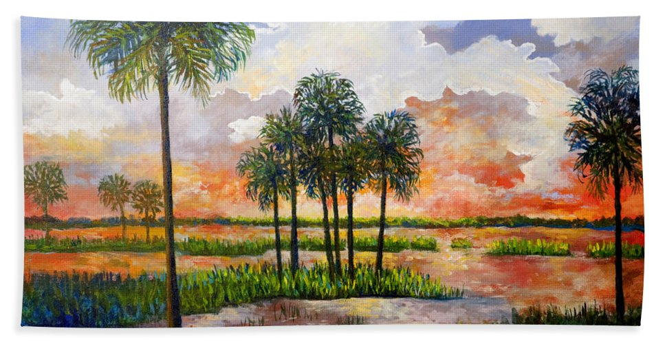 Sunset Hand Towel featuring the painting Myakka Sunset by Lou Ann Bagnall