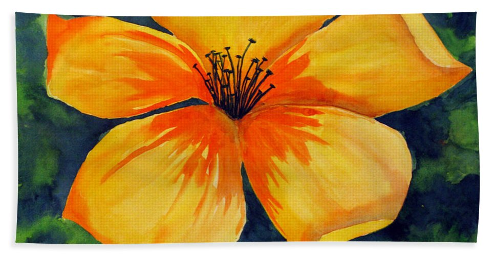 Watercolor Painting Bath Sheet featuring the painting Mysterious Yellow Flower by Debi Singer