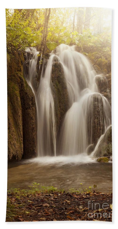 Water Hand Towel featuring the photograph Mystic Waterfall by Silvio Schoisswohl