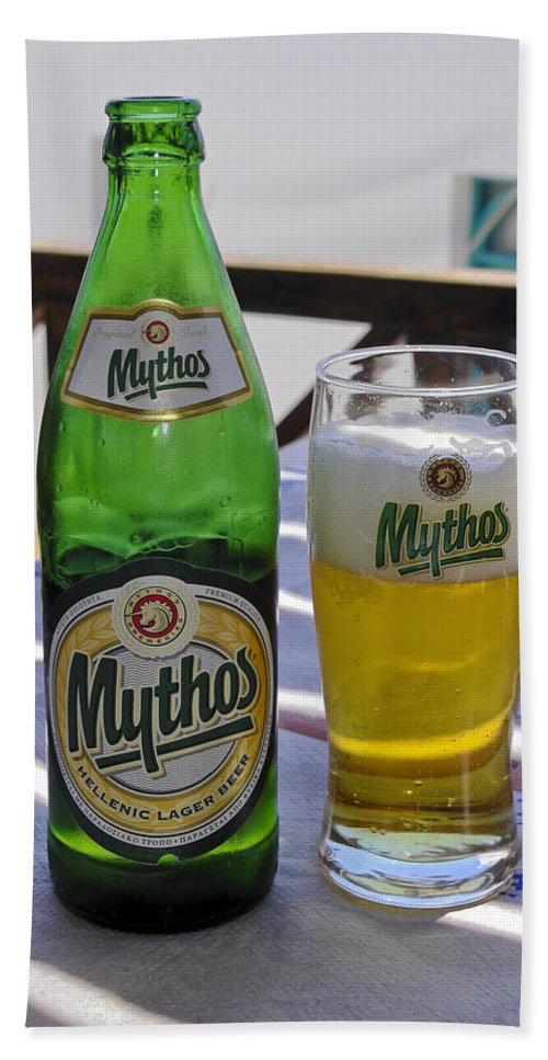 Mythos Beer Bottle Hand Towel featuring the photograph Mythos Beer by Sally Weigand