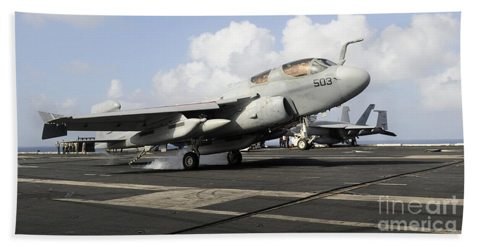Landing Hand Towel featuring the photograph N Ea-6b Prowler Makes An Arrested by Stocktrek Images
