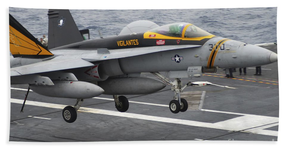 F-18 Super Hornet Hand Towel featuring the photograph N Fa-18f Super Hornet Lands Aboard by Stocktrek Images